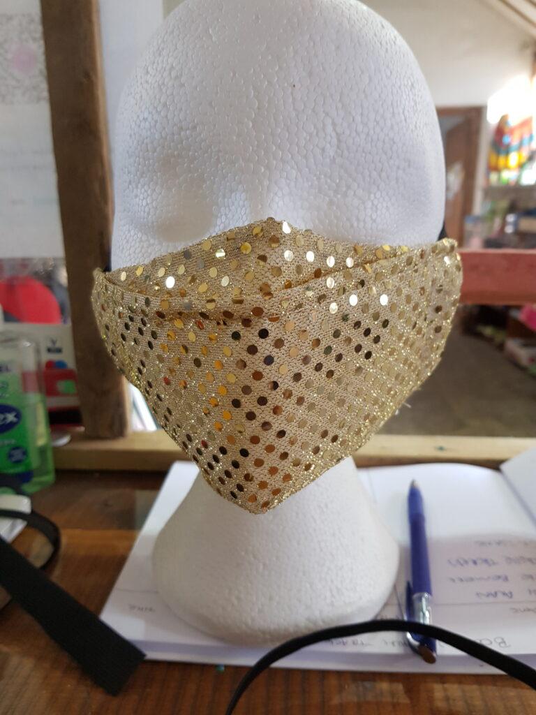 Glitter Gold Antifog Face Mask