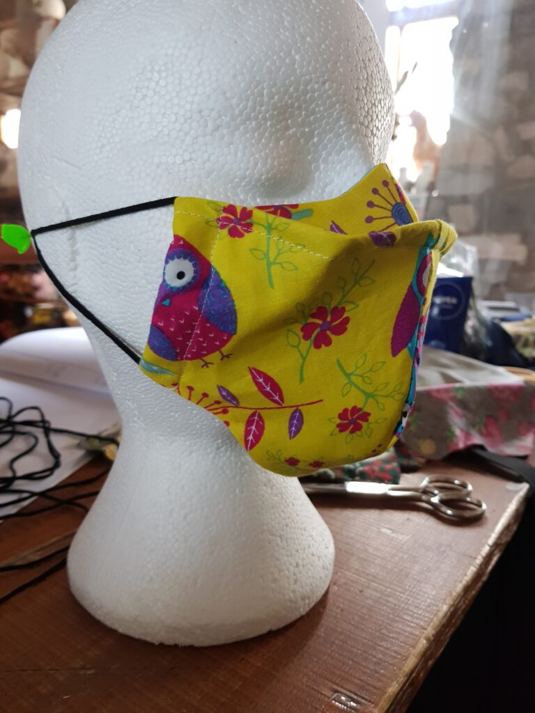 Yellow Owls design antifog Face mask