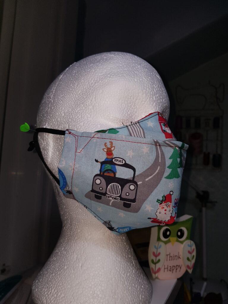 Light blue Christmas Santa's train antifog facemask