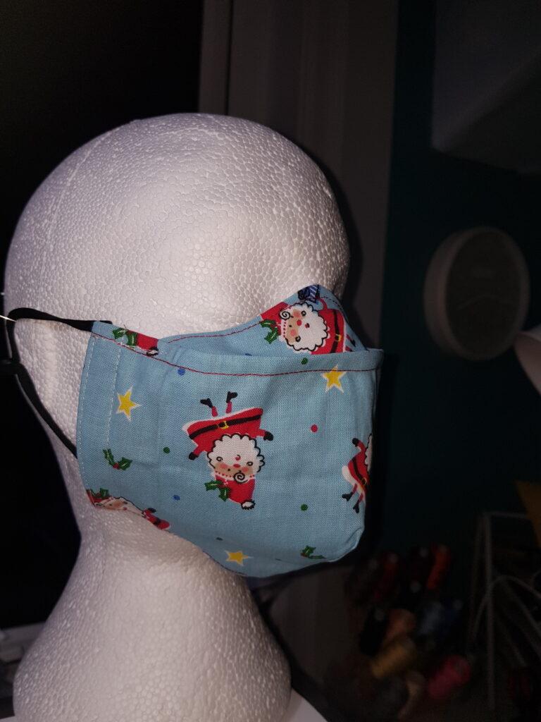 Light blue Santa's Christmas antifog facemask