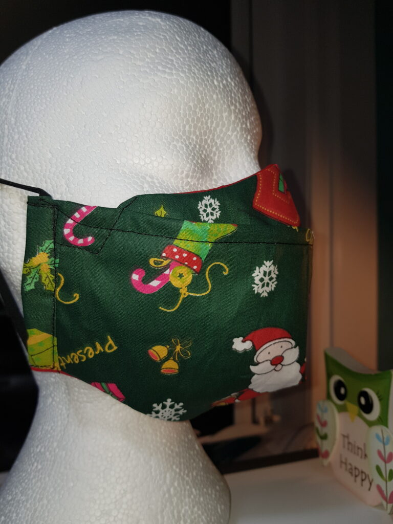 Dark green Santa's Christmas antifog facemask